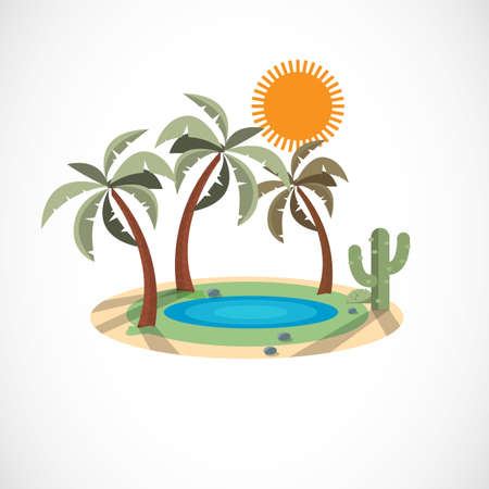 Oasis in the desert - vector illustration Çizim
