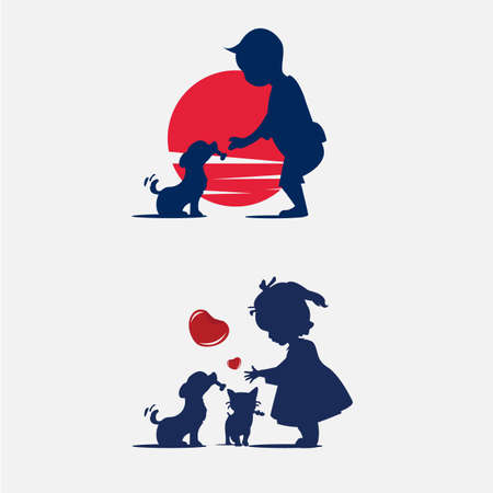 Kids feeding dog and cat. silhouette. - vector illustration