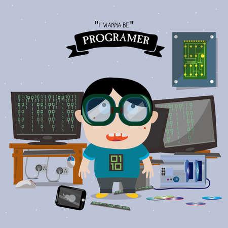 Programer kid character - vector illustration Çizim