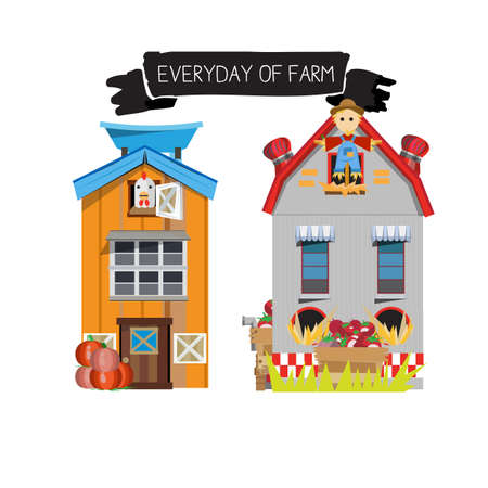 cows red barn: farm house. country side - vector illustration