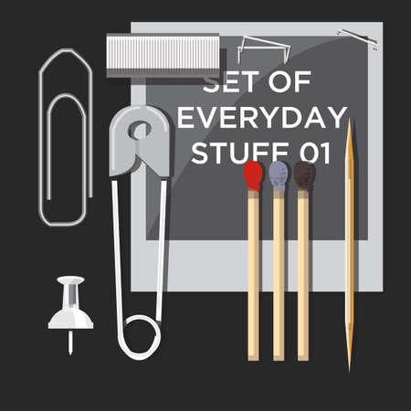 timeless: set of everyday stuff - vector illustration