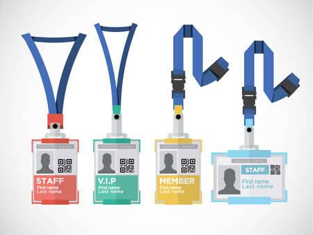 Lanyard, name tag holder end badge templates - vector illustration Çizim