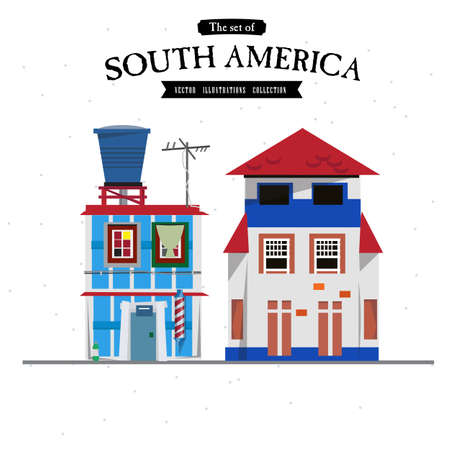 windows home: South America house style - vector illustration