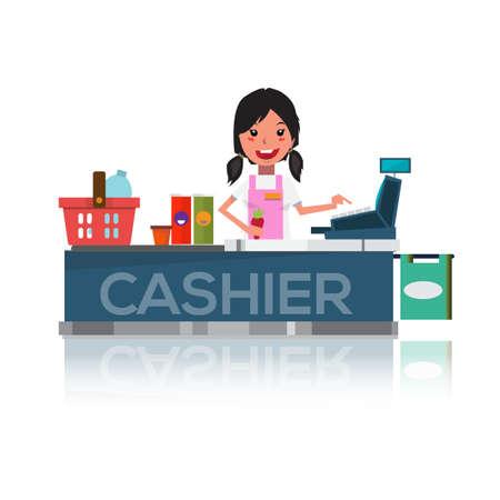 cash register: pretty cashier at supermarket - vector illustration