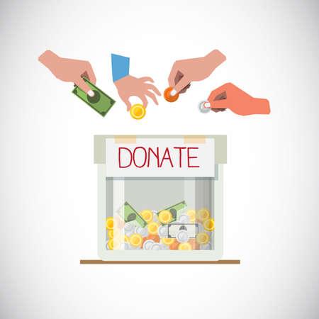 Cuadro de donación con la mano - ilustración vectorial