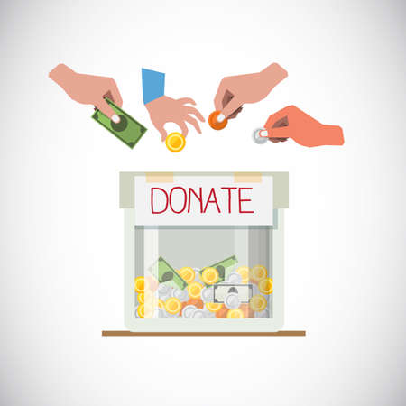 Donation box with hand - vector illustration Иллюстрация