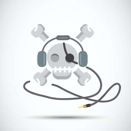 criminals: Pirate music. criminals. skull with headphone - vector illustration Illustration