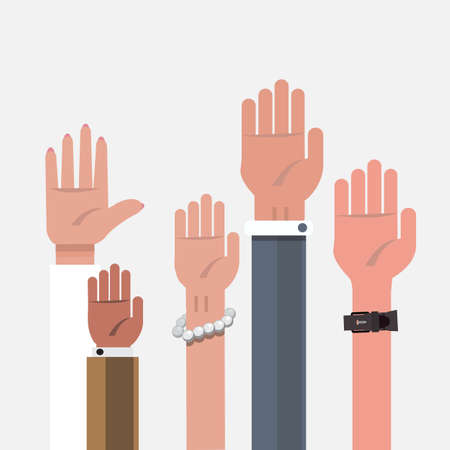 arms raised: vote hand. up hand - vector illustration