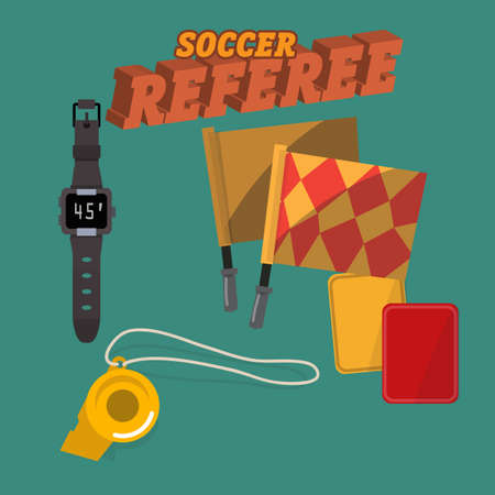 offside: soccer referee set - vector illustration