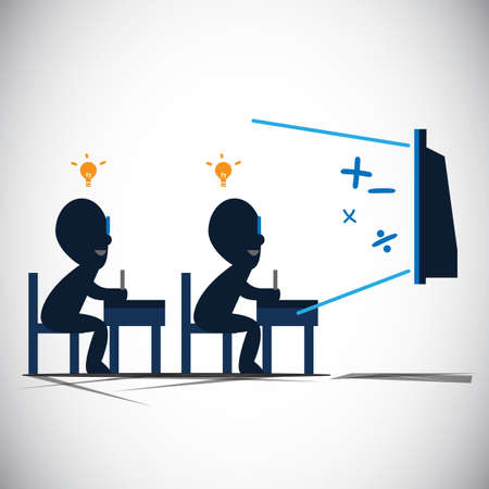 classroom chalkboard: students are learning from screen. internet - vector illustration Illustration