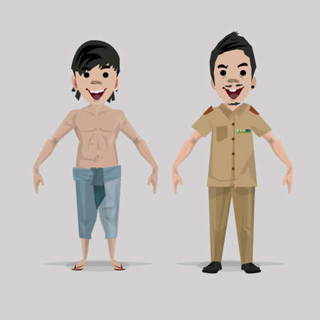 officer: asian countryside and government officer character - vector illustration