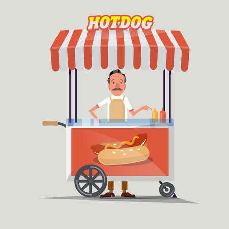 perro caliente: carrito de perritos calientes con el vendedor - ilustración vectorial
