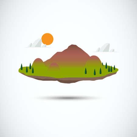 floating on water: mini island - vector illustration
