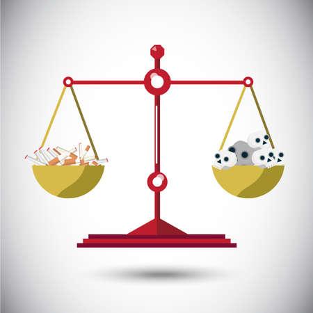 bad idea: balance scale between cigarette and skull - vector illustration Illustration