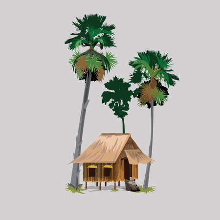 grain fields: palm trees with hut in asian countryside- vector illustration Illustration