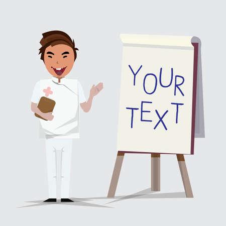 paperboard: nurse guy presenting with paperboard - vector illustration