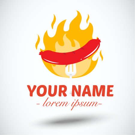 hotdog: hotdog with fire.banner - vector illustration