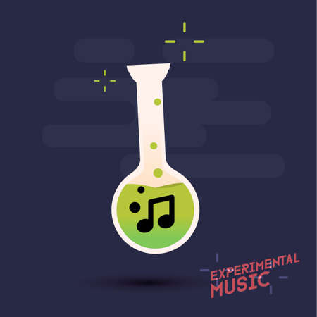 experimental: experimental music. music note in test tube - vector illustration Illustration