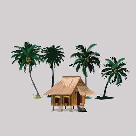 hut met kokospalmen in Aziatische platteland - vector illustratie