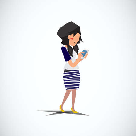 woman cellphone: girl texting on her cellphones social networking. walking - vector illustration