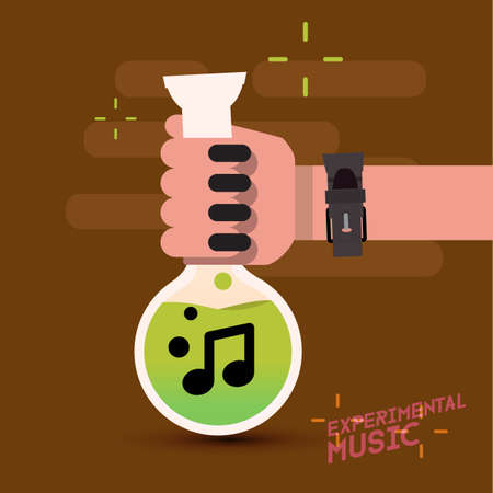 experimental: music not in test tube with hand. experimental music - vector illustration Illustration