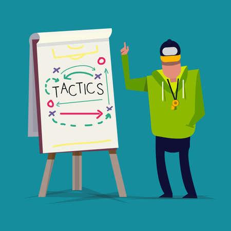 hombres ejecutivos: Entrenamiento Táctico. deporte. presentación - ilustración vectorial Vectores