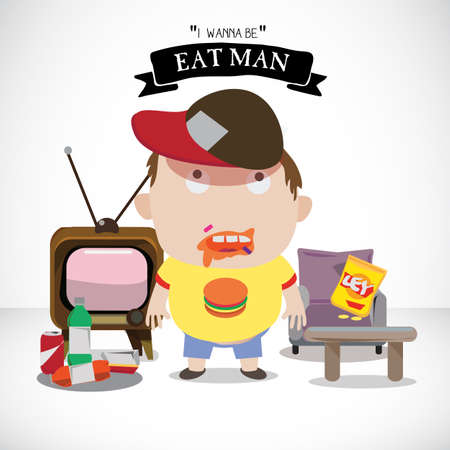 hungry kid: overweight boy with soda and snack - vector illustration