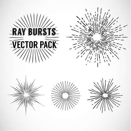 rayos de sol: Línea explosión de rayos. estilo vintage - conjunto de vectores - ilustración vectorial