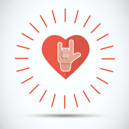 metal parts: love hand with heart - vector illustration
