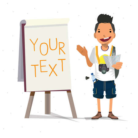 paperboard: tourist guy presenting with paperboard - vector illustration Illustration