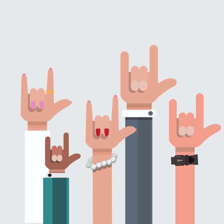 rock and roll: love hand sign. show - vector illustration Illustration