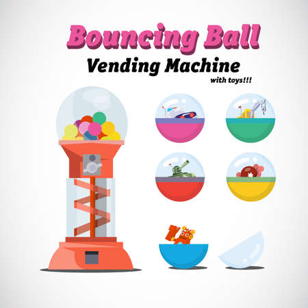 gencives: distributeurs automatiques jouets - illustration vectorielle