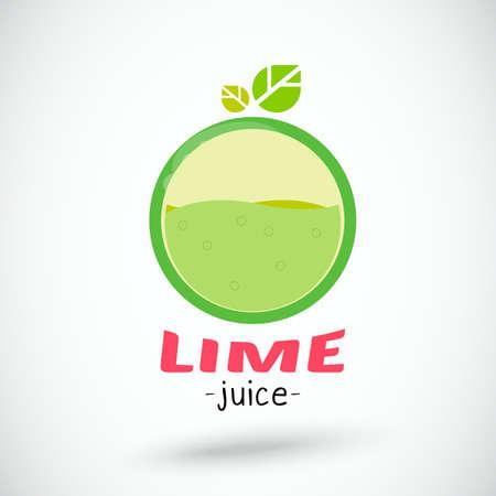 lime juice: lime juice in oval shape. badge - vector illustration
