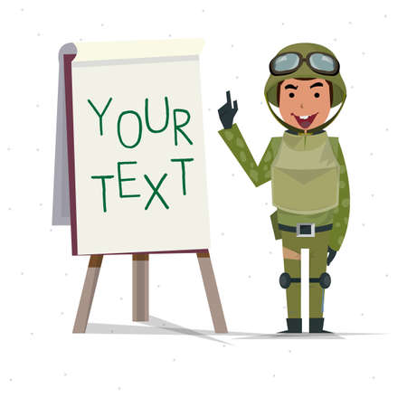 army uniform: soldier guy presenting on paperboard - vector illustration