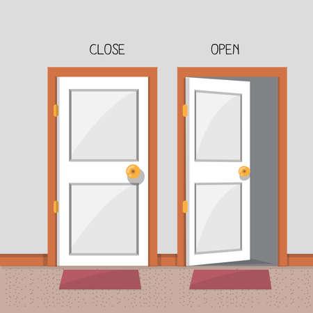 閉じて、開いているドア - ベクトル図  イラスト・ベクター素材