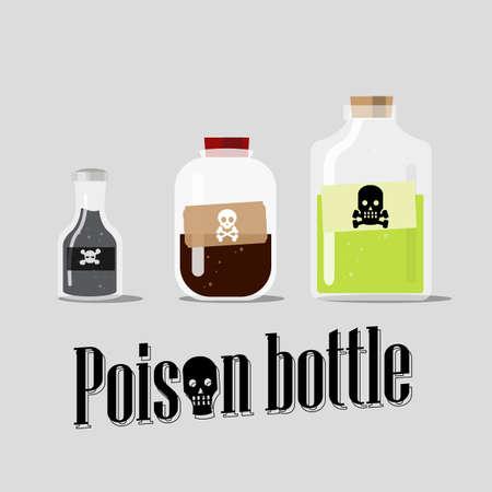 veneno frasco: botella de veneno - ilustración vectorial
