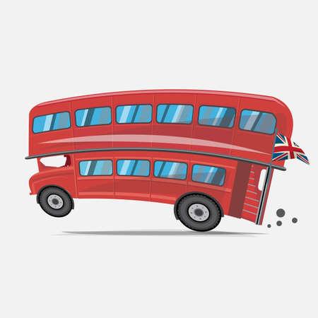 decker: London red bus. Double decker bus - vector illustration