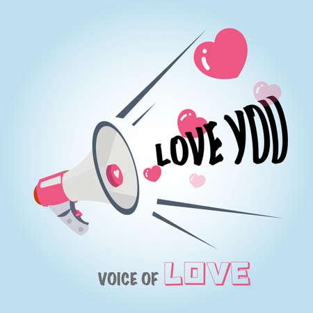 loudhailer: megaphone of love. hearts - vector illustration