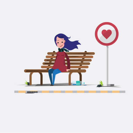 lady are waiting for love - vector illustration