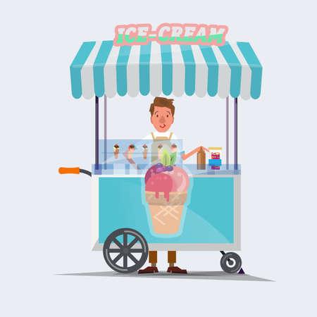アイスクリームのカート - ベクトル図  イラスト・ベクター素材
