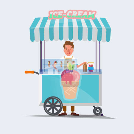 cartoon ice cream: ice cream cart - vector illustration