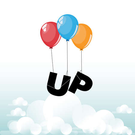 fly up: Up typography fly with balloon - vector illustration Illustration