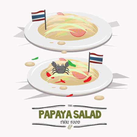 thai herb: PapayaSalad. Thai food - vector illustration
