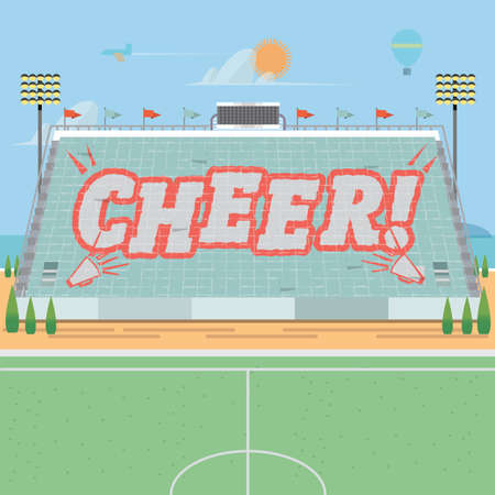 grandstand: grandstand card stunts. cheer - vector illustration
