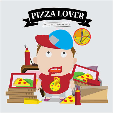 lover boy: pizza lover boy. character - vector illustration