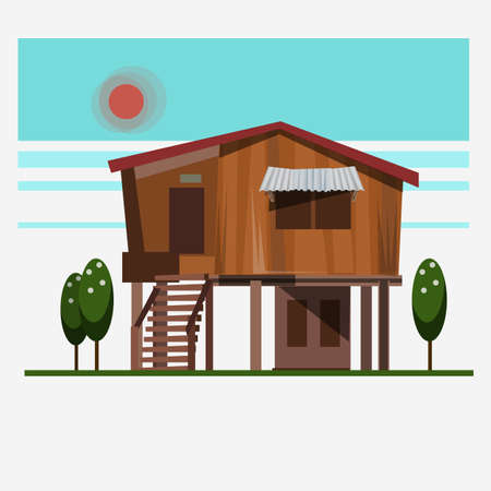 wood home - vector illustration