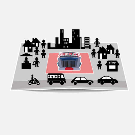 downtown: downtown, city on the papermap - vector illustration