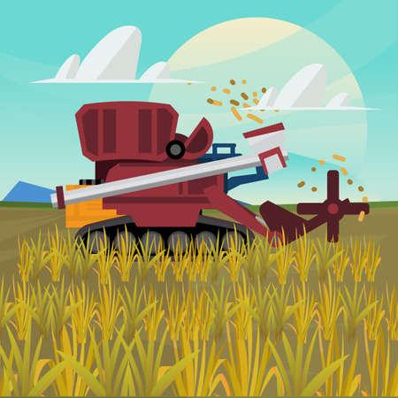 Rice combine harvester. farm - vector illustration Stock Illustratie