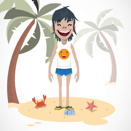 college student: woman with short jeans and t-shirt on the beach. summer - vector illustration