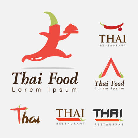 hot and spicy food. thai vector illustration